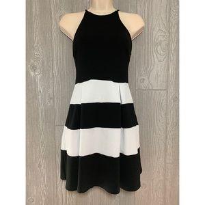 Aqua Black & White Stripe Racerback Dress M